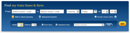 Add passengers, railcards, and class preferences on the homepage