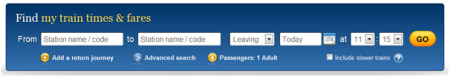 Passenger details on the homepage