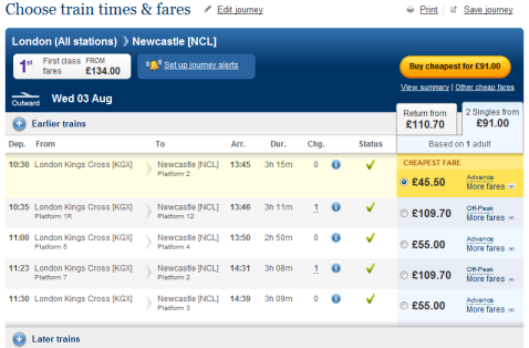 Train times and fares