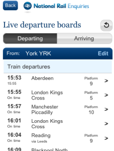 Live departure boards on our new mobile site