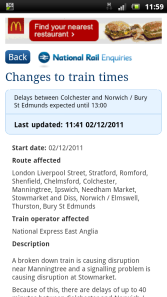 Information about delays to trains and alternative options