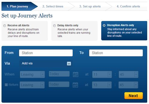 Setting up Disruption Alerts on National Rail Enquiries Website Example