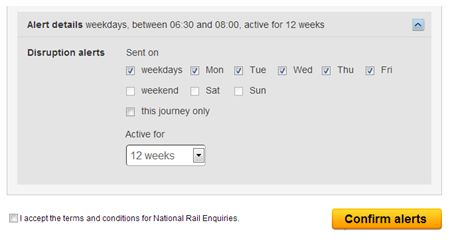 Setting up Disruption Alerts on National Rail Enquiries Website Example 2