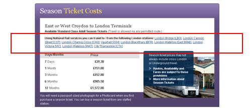 London Terminals in Season Ticket Calculator